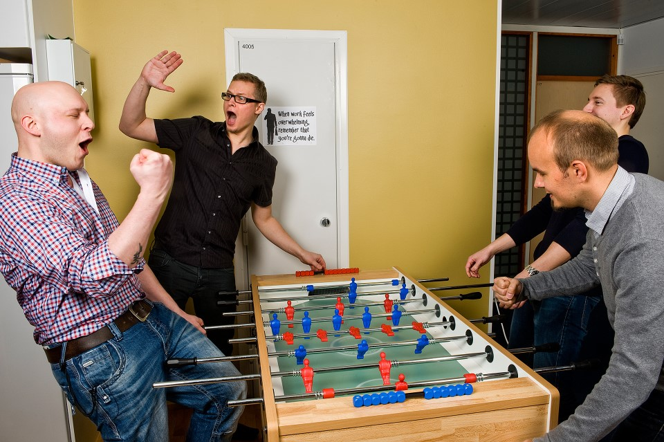 , Markus, Jarno, Sami and Sakke playing foosball